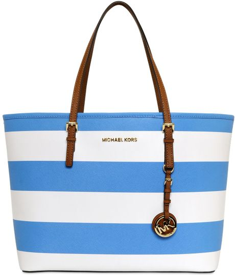 Michael Michael Kors Stripped Saffiano Leather Tote Bag in Blue ...