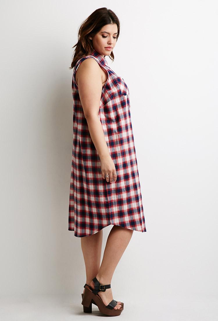 Forever 21 Plus Size Tartan Plaid Maxi Dress In Red Indigo