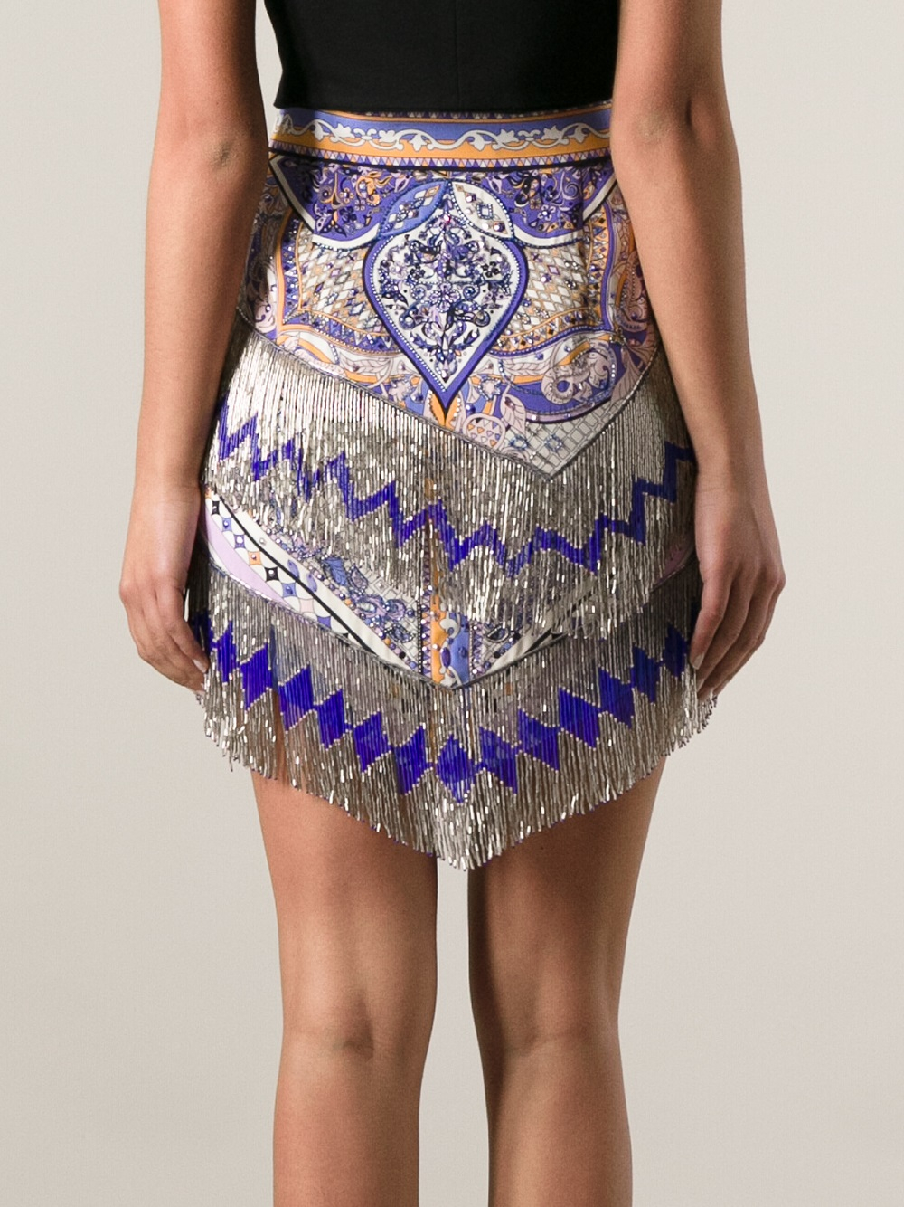 emilio pucci beaded fringed skirt in purple lyst