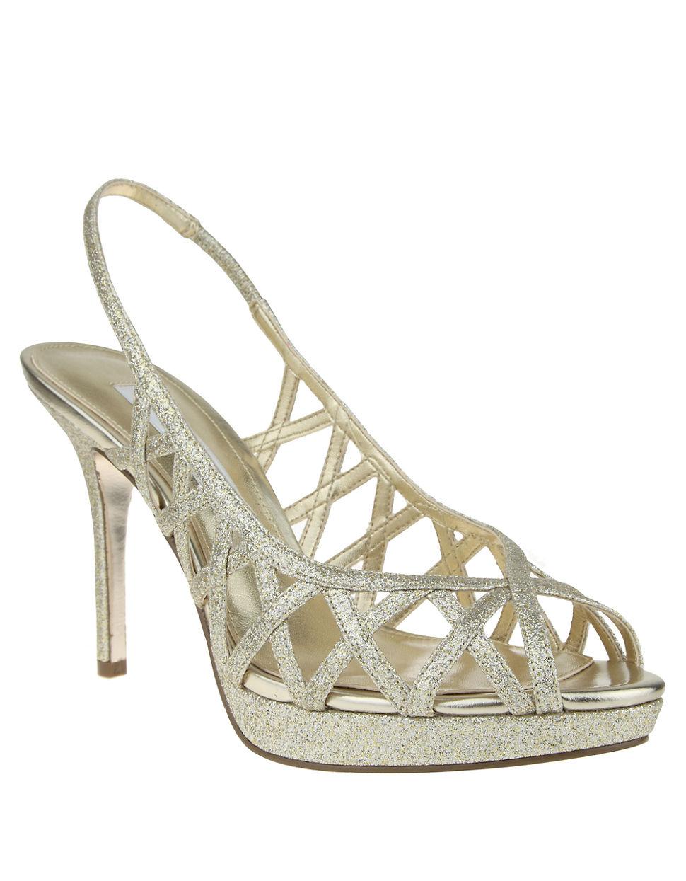 4238cd032bf Nina Fantina Glitter Peep-toe Slingback Sandals in Metallic - Lyst