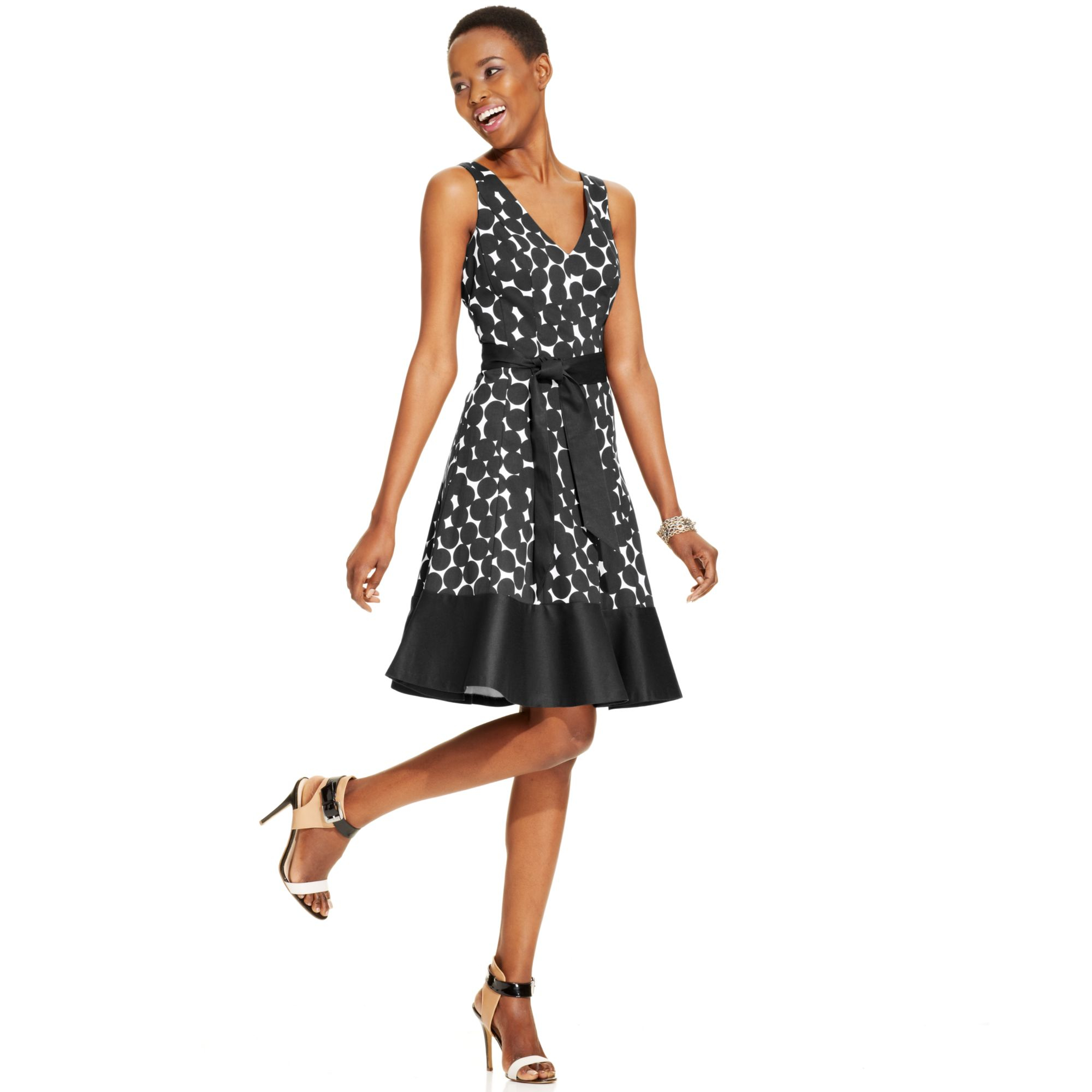 Nine West Dot Print Cotton Blend Dress In White Navy