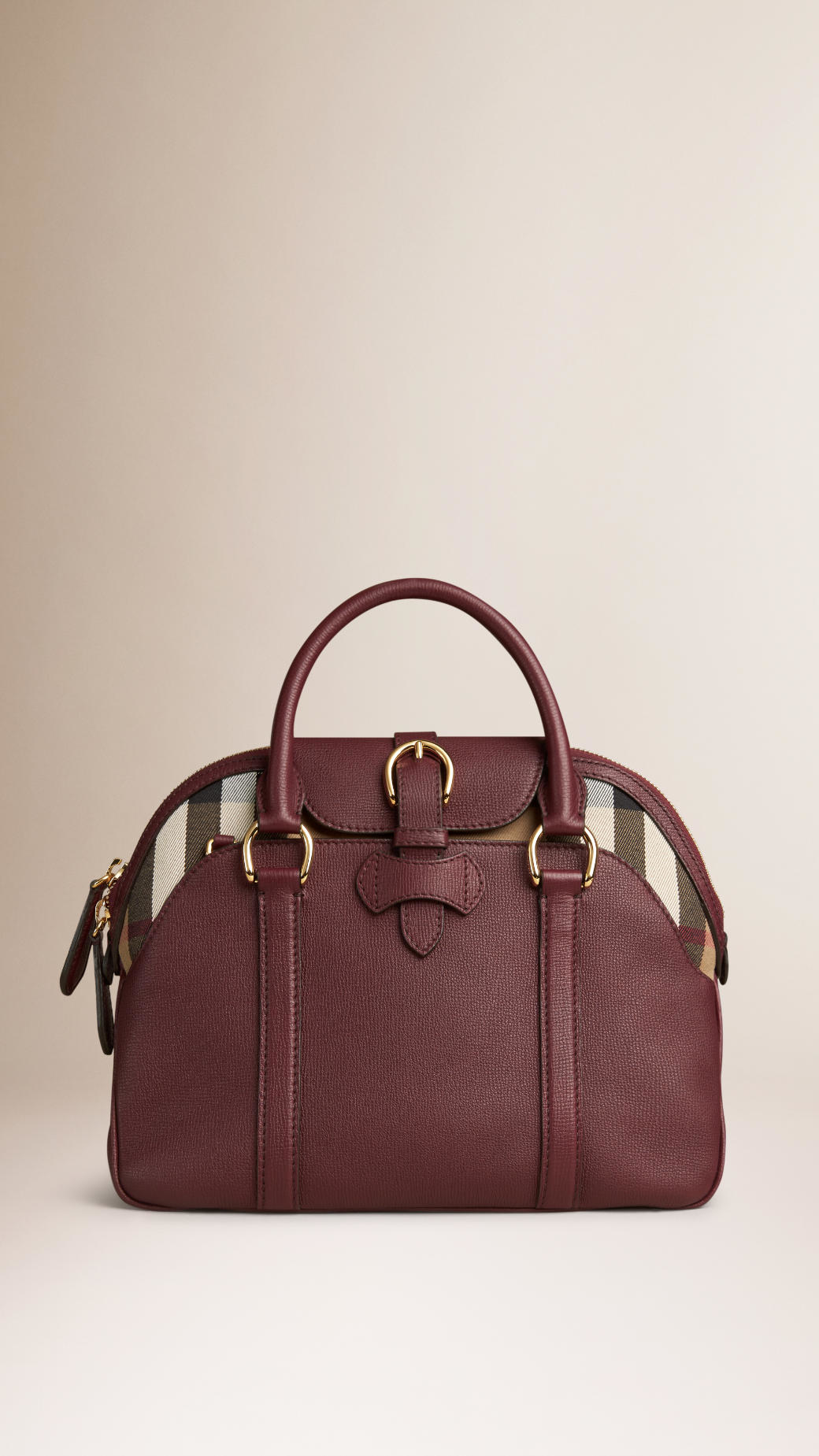 burberry medium leather and house check bowling bag