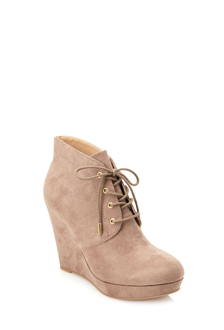 d7bf0ac5a430 Tan Suede Lace Up Wedge Booties - Image Of Tie
