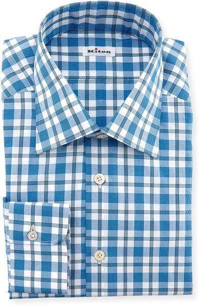 Kiton Plaid Dress Shirt In Teal For Men Lyst