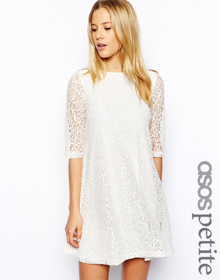dc9302018985 ASOS Exclusive Lace Swing Dress in White - Lyst