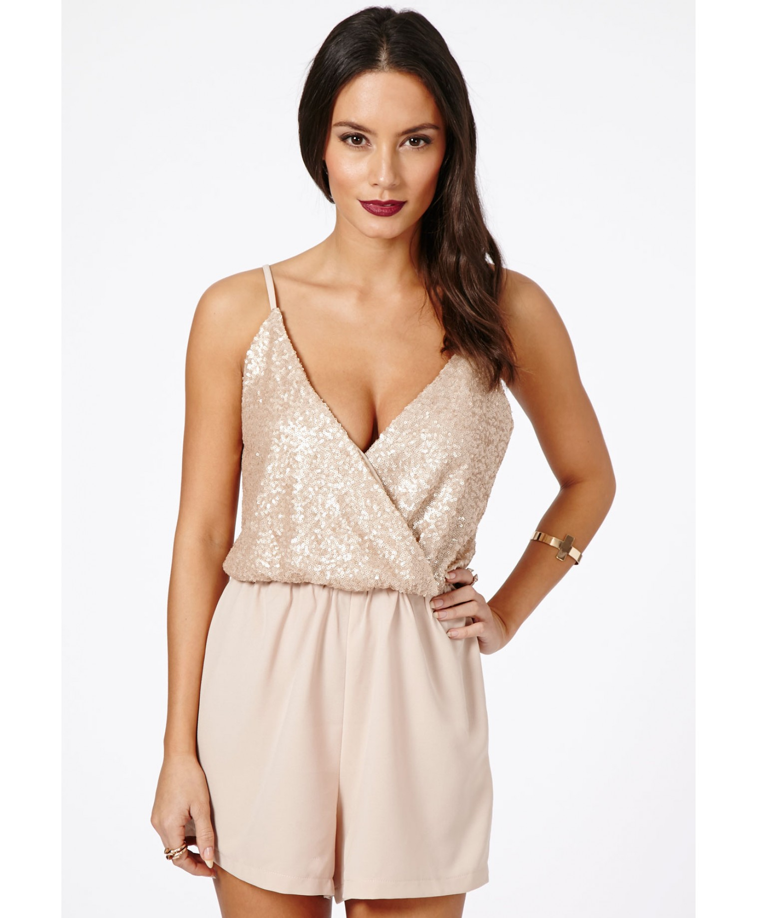fabe889dba Missguided Alix Sequin Strappy Playsuit in Nude in Natural - Lyst