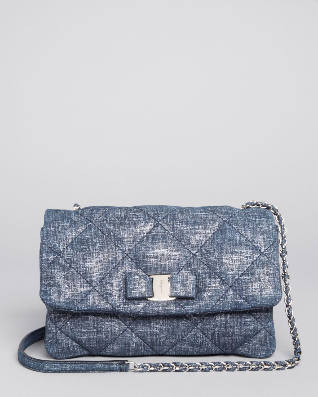 Lyst - Ferragamo Crossbody - Gelly Denim Printed Leather in Blue 8c18a770c4d97