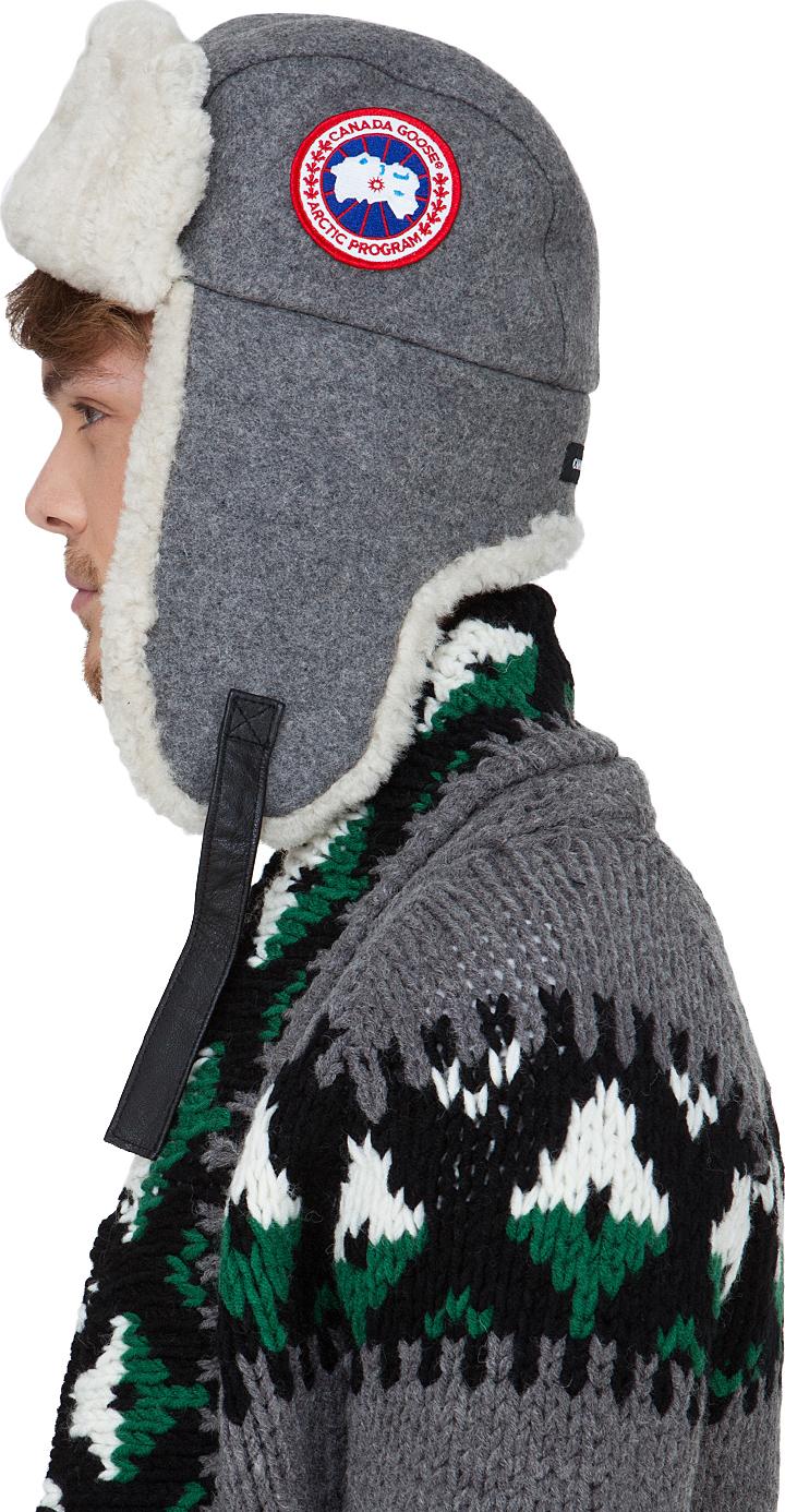 Lyst - Canada Goose Merino Wool Shearling Pilot Hat in Gray for Men dc64d1c3ca6