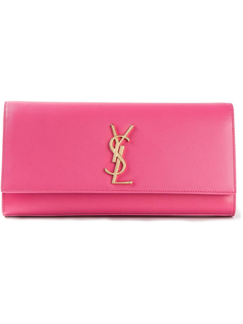 yves saint laurent chyc leather shoulder bag - Saint laurent Ysl Clutch in Pink (pink & purple) | Lyst