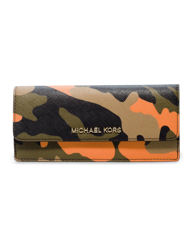 bbcb995a3fd0af Michael Kors Michael Jet Set Camo Travel Flat Wallet in Yellow - Lyst