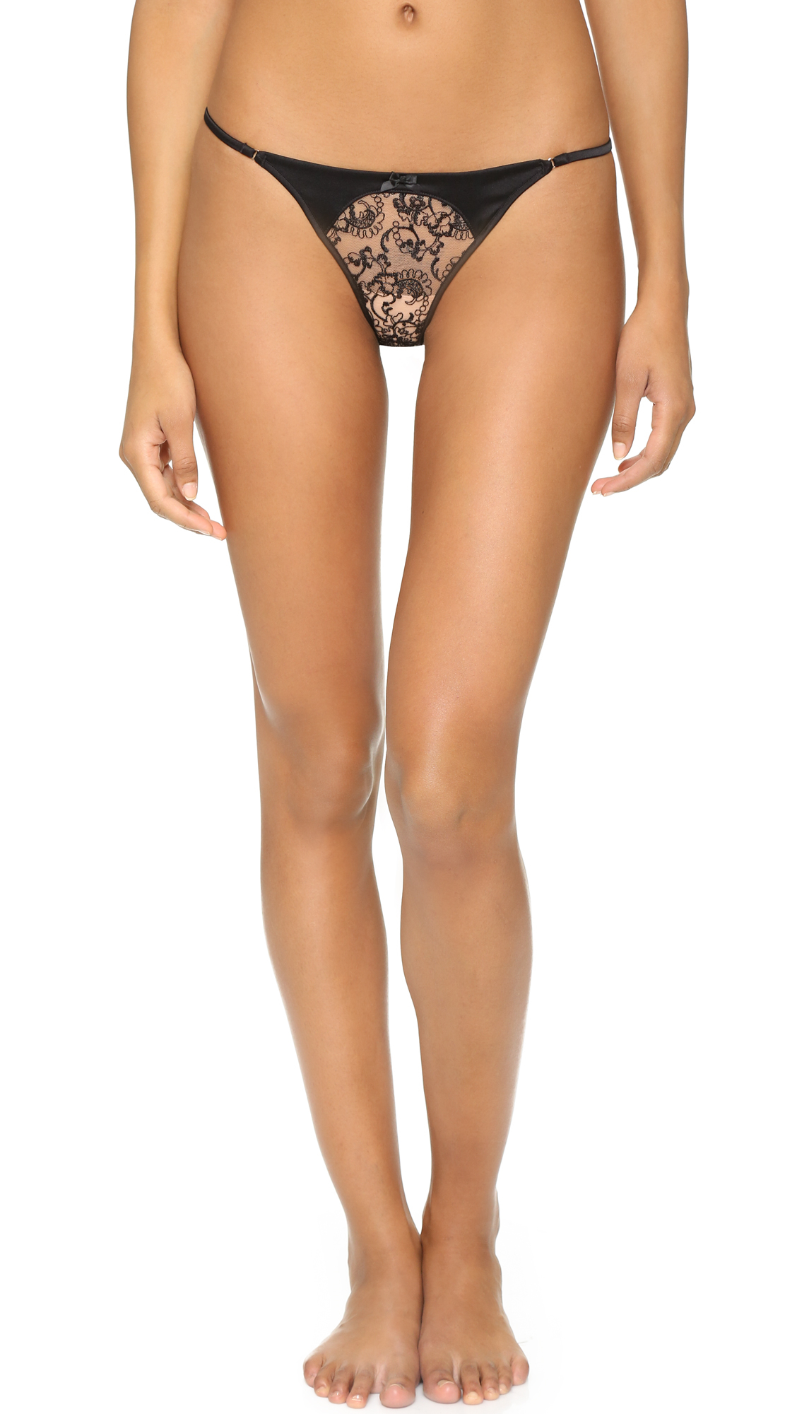 Myla House Silk & Embroidery Thong in Black