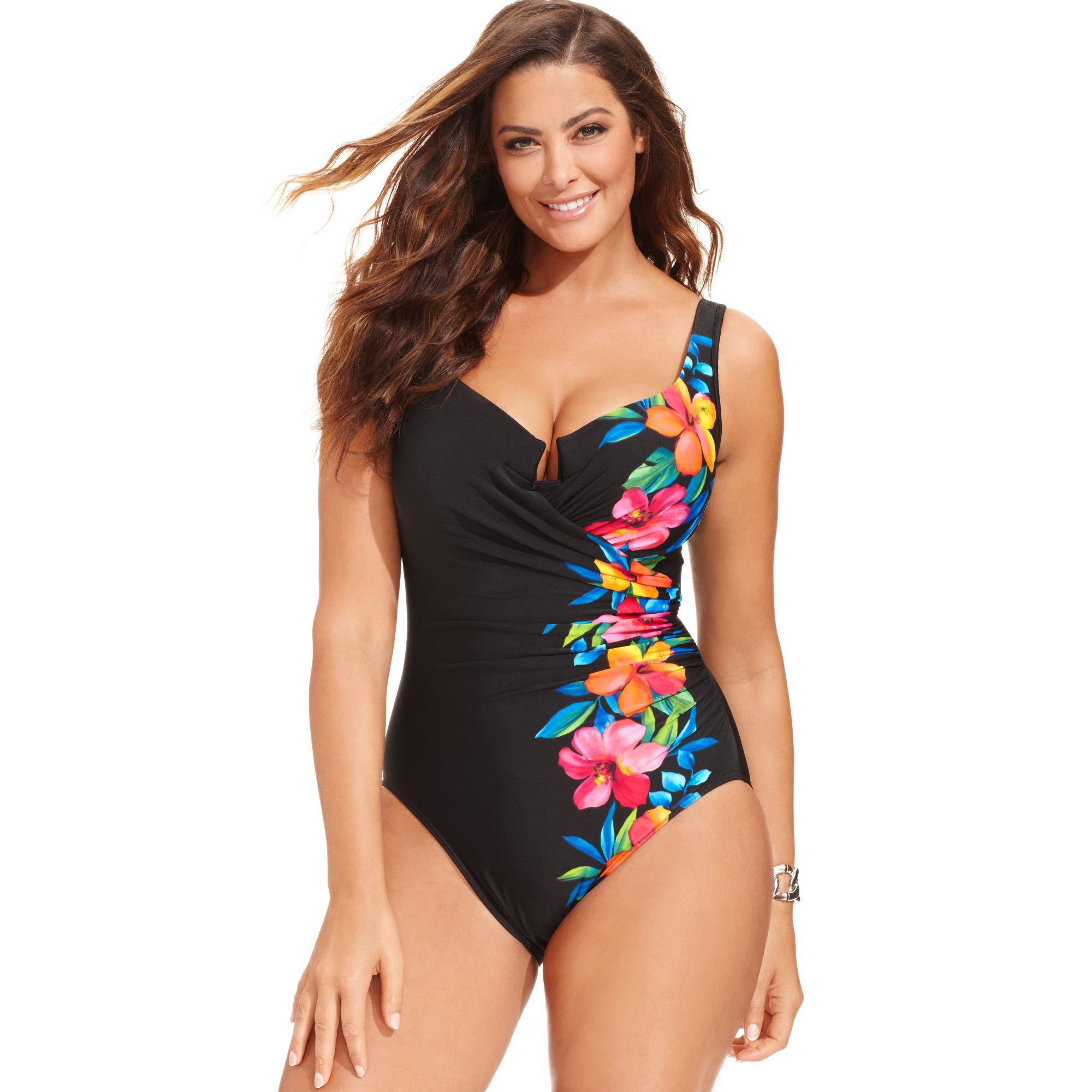 733c11d6ea0 Miraclesuit Plus Size Escape Floral-print Onepiece Swimsuit in Black ...