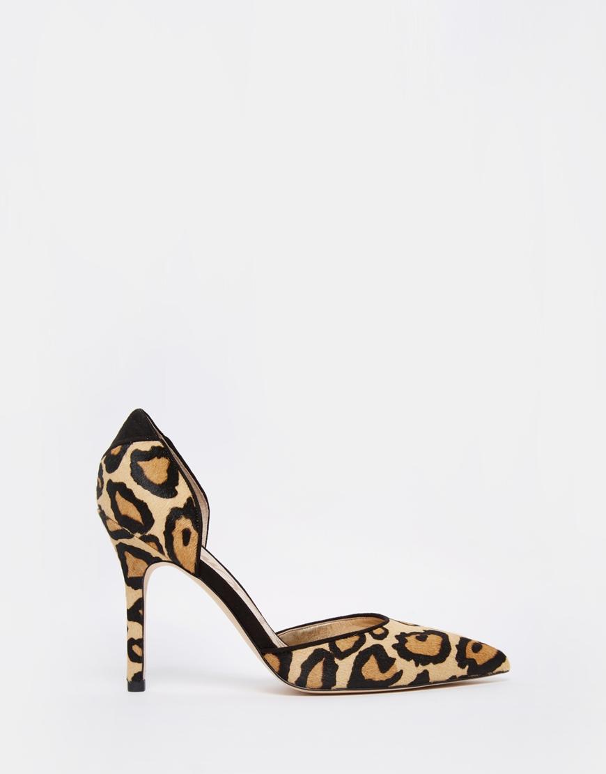 6480e8e4579c Sam Edelman Delilah Leopard Two Part Heeled Court Shoes - Leopard - Lyst