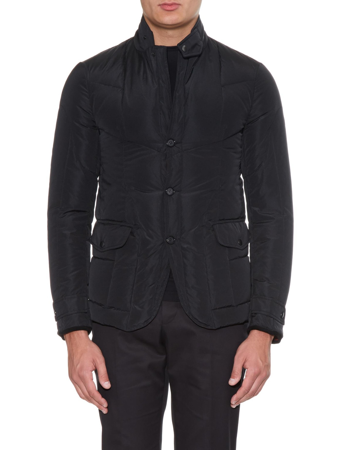 Alexander McQueen Suede Contrast Lining Quilted-down Jacket in Black for Men