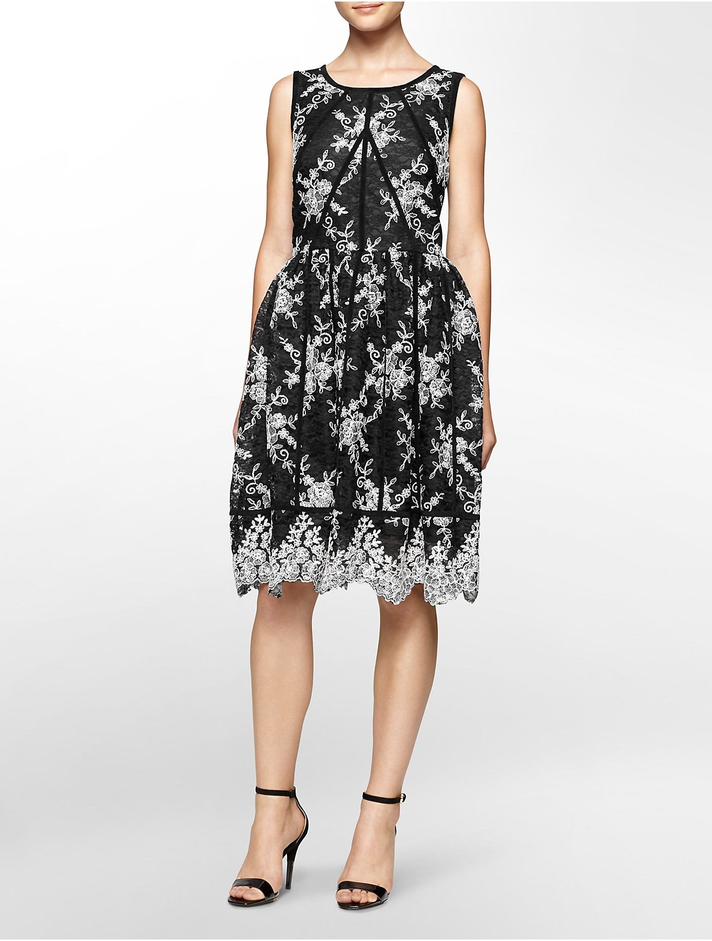 Calvin Klein Lace Trimmed Fit And Flare Dress In Black Lyst