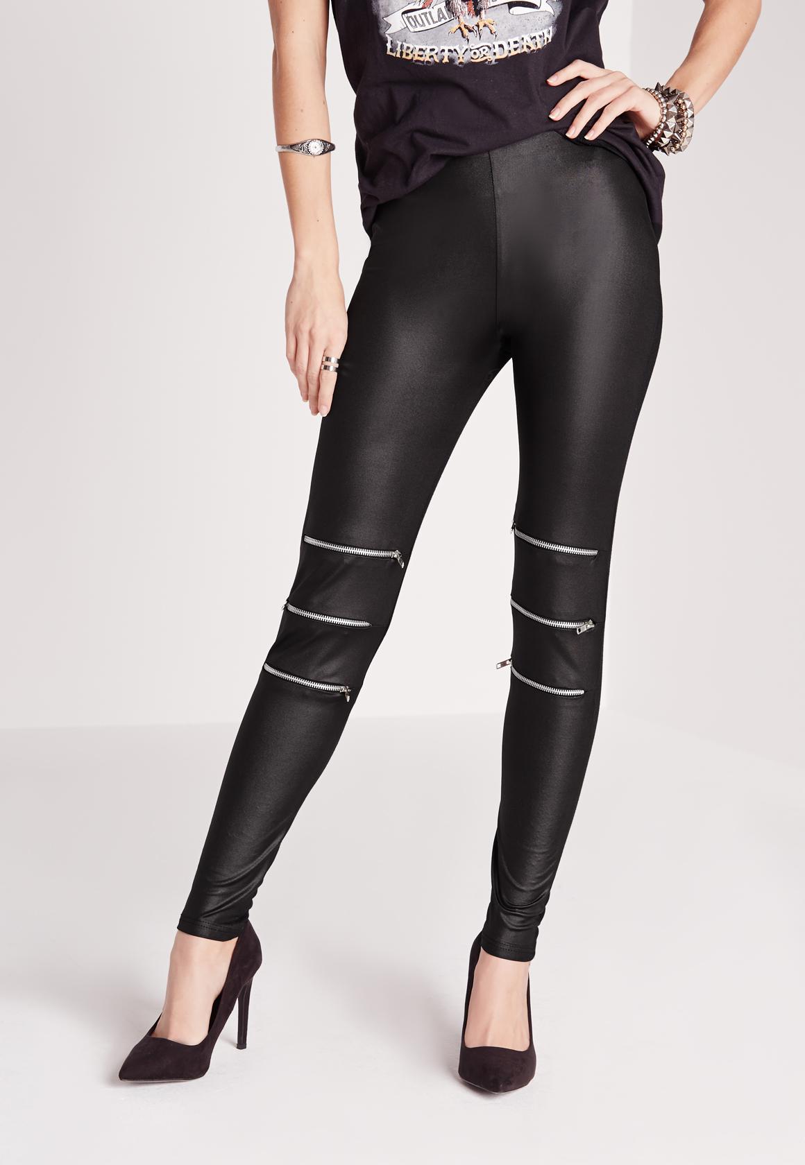 9fb674f6c0d2cf Missguided Zip Detail Wet Look Leggings Black in Black - Lyst