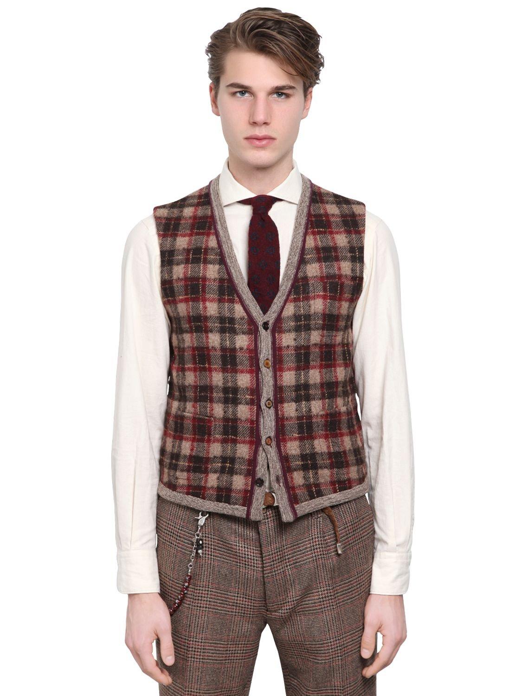 Lardini Plaid Wool Cashmere Blend Knit Vest in Brown for Men | Lyst