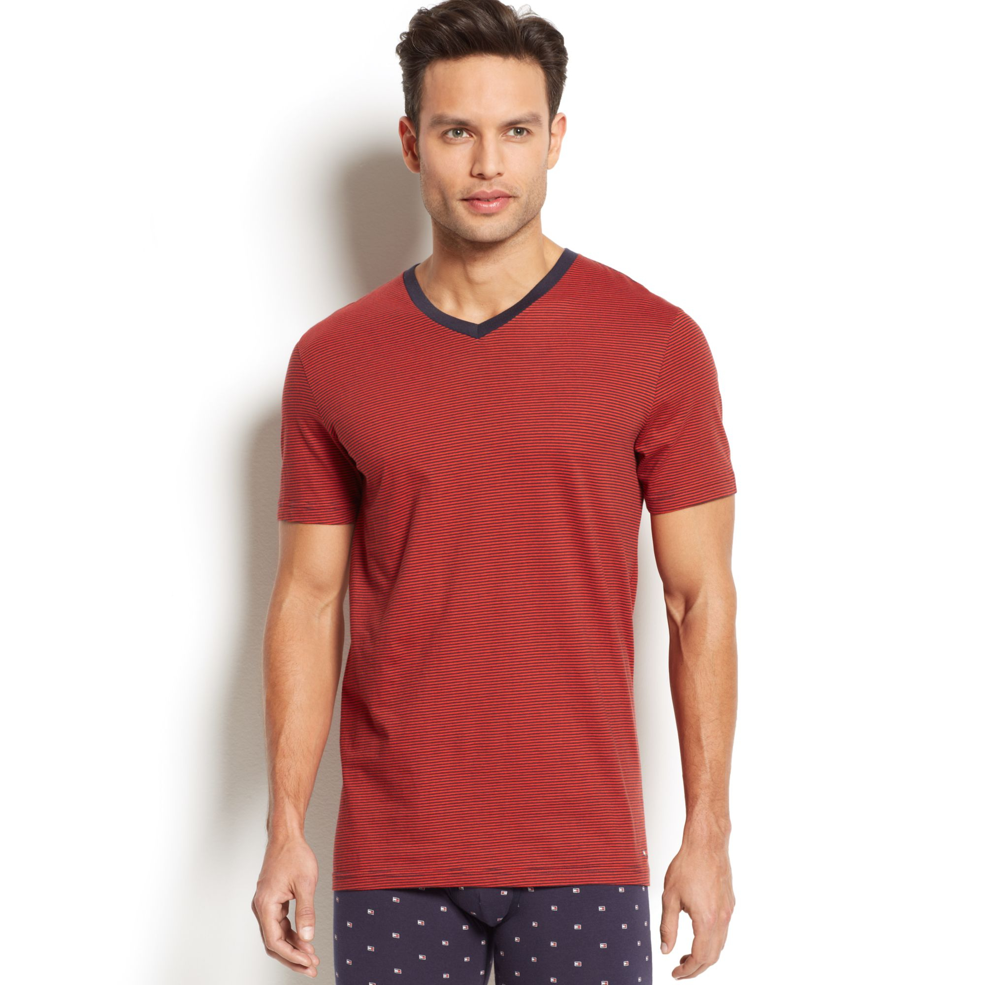 tommy hilfiger red mens striped v neck t shirt 2 pack product 1. Black Bedroom Furniture Sets. Home Design Ideas