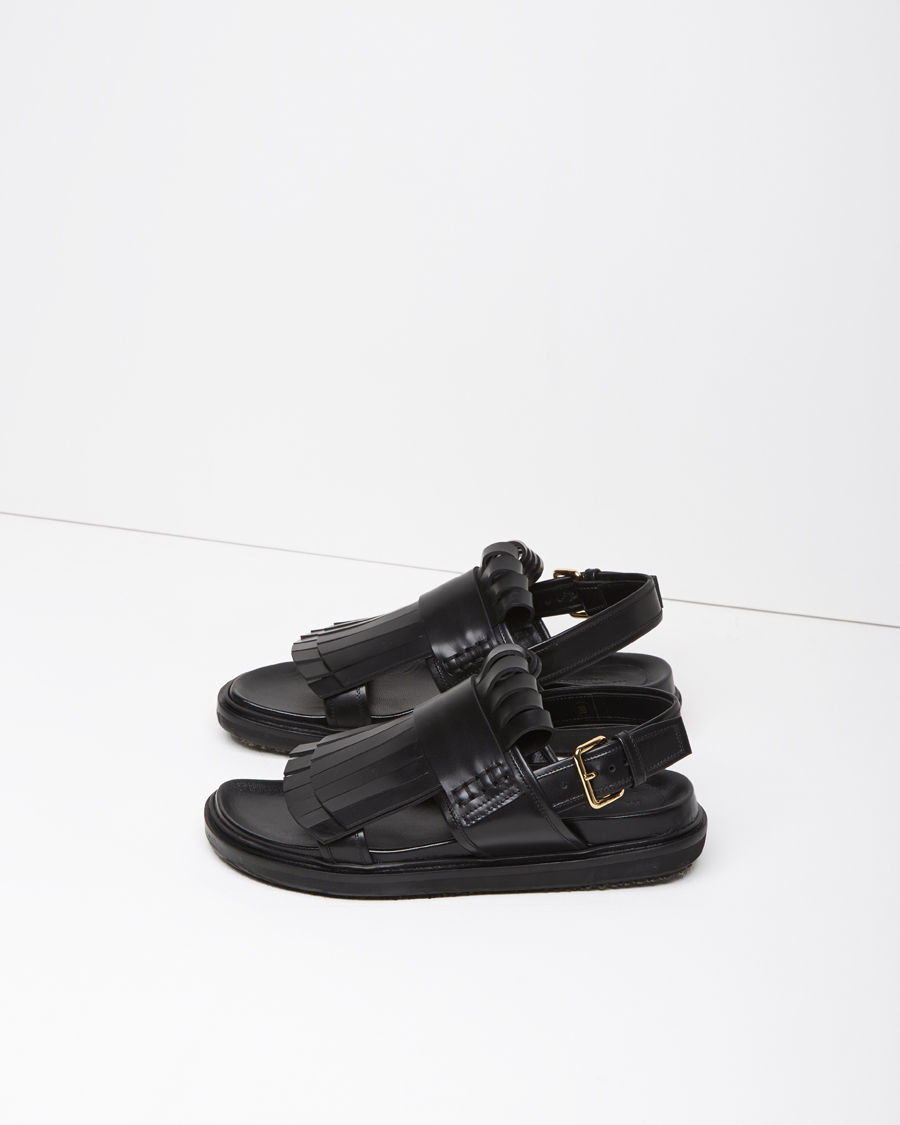 Lyst Marni Fussbett Fringed Leather Sandals In Black
