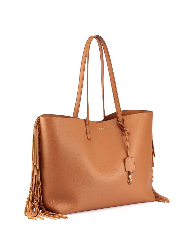 saint laurent large calfskin fringe shopping tote bag in. Black Bedroom Furniture Sets. Home Design Ideas
