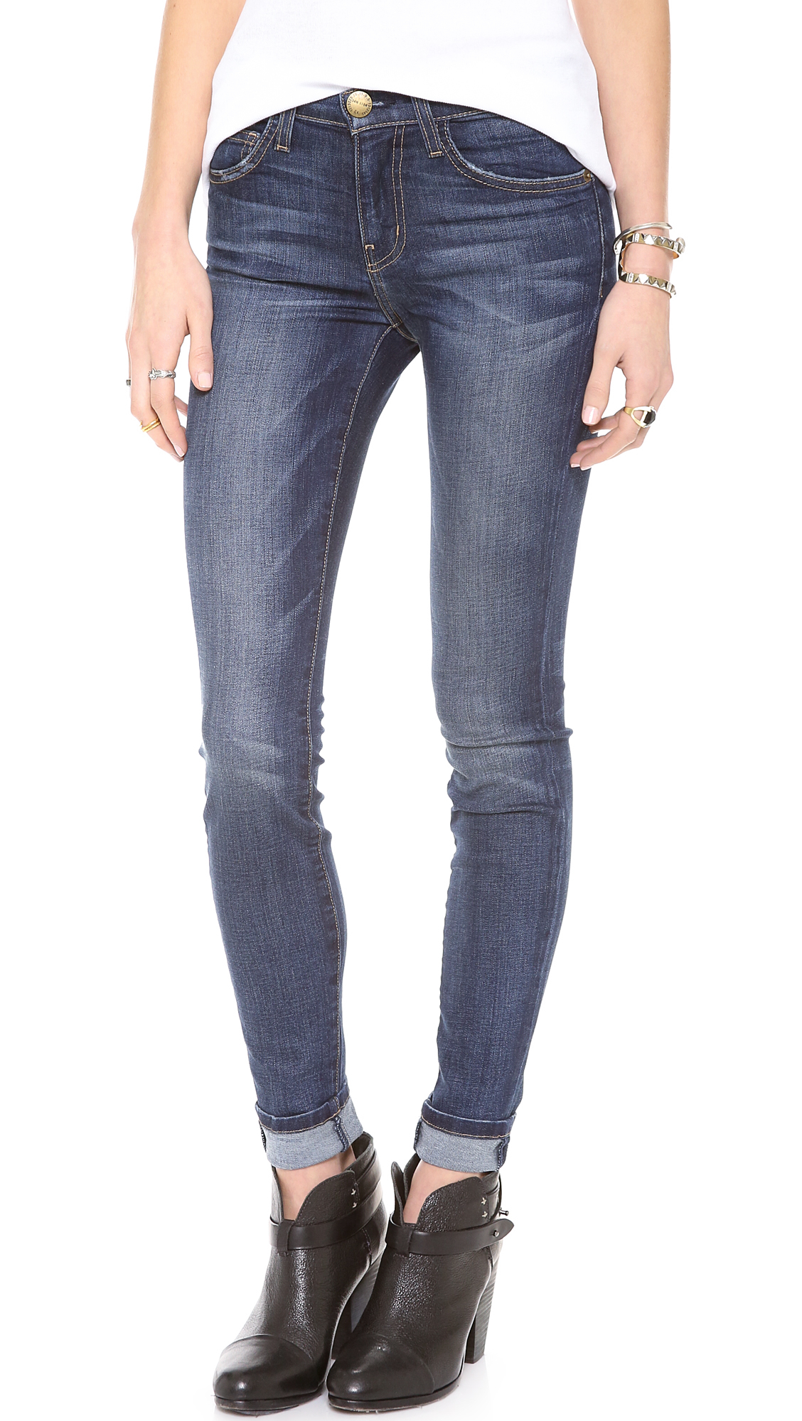 Current Elliott The High Waist Skinny Jeans In Blue