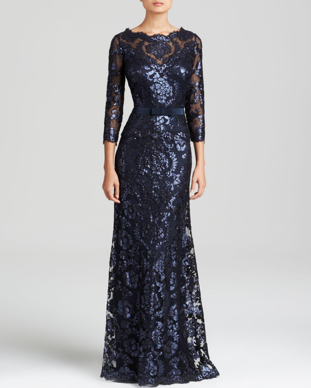 3fcff37a662f Lyst - Tadashi Shoji Blouson Waist Paillette Embroidered Lace Gown ...