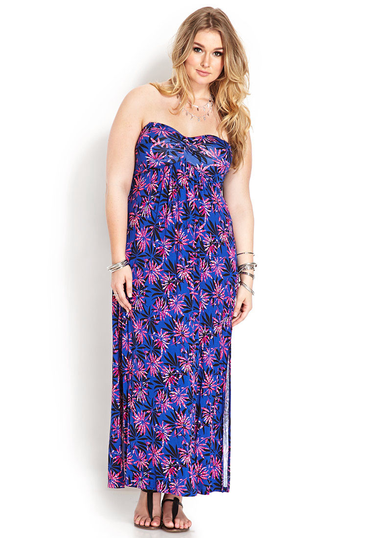 0bec9eb6919 Lyst - Forever 21 Tropical Vibes Slit Maxi Dress in Blue