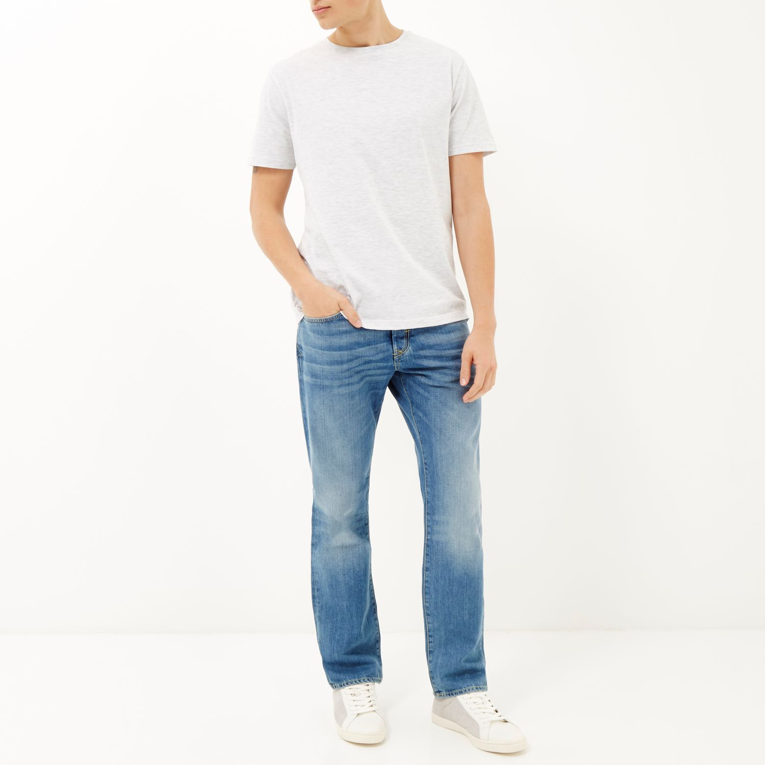 River Island Light Wash Dean Straight Jeans In Blue For Men Lyst