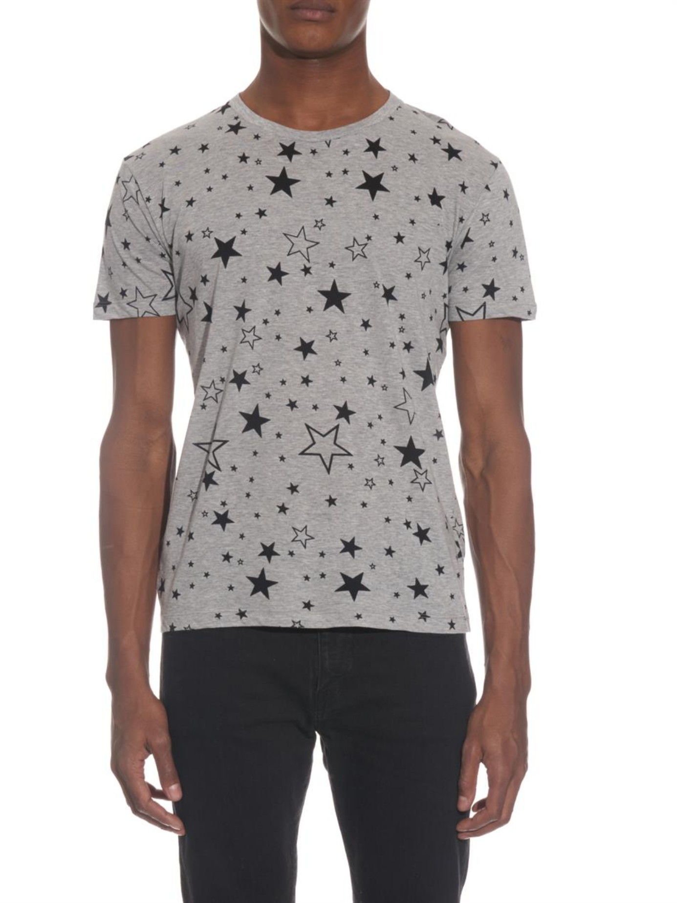 saint laurent star print t shirt in gray for men lyst. Black Bedroom Furniture Sets. Home Design Ideas
