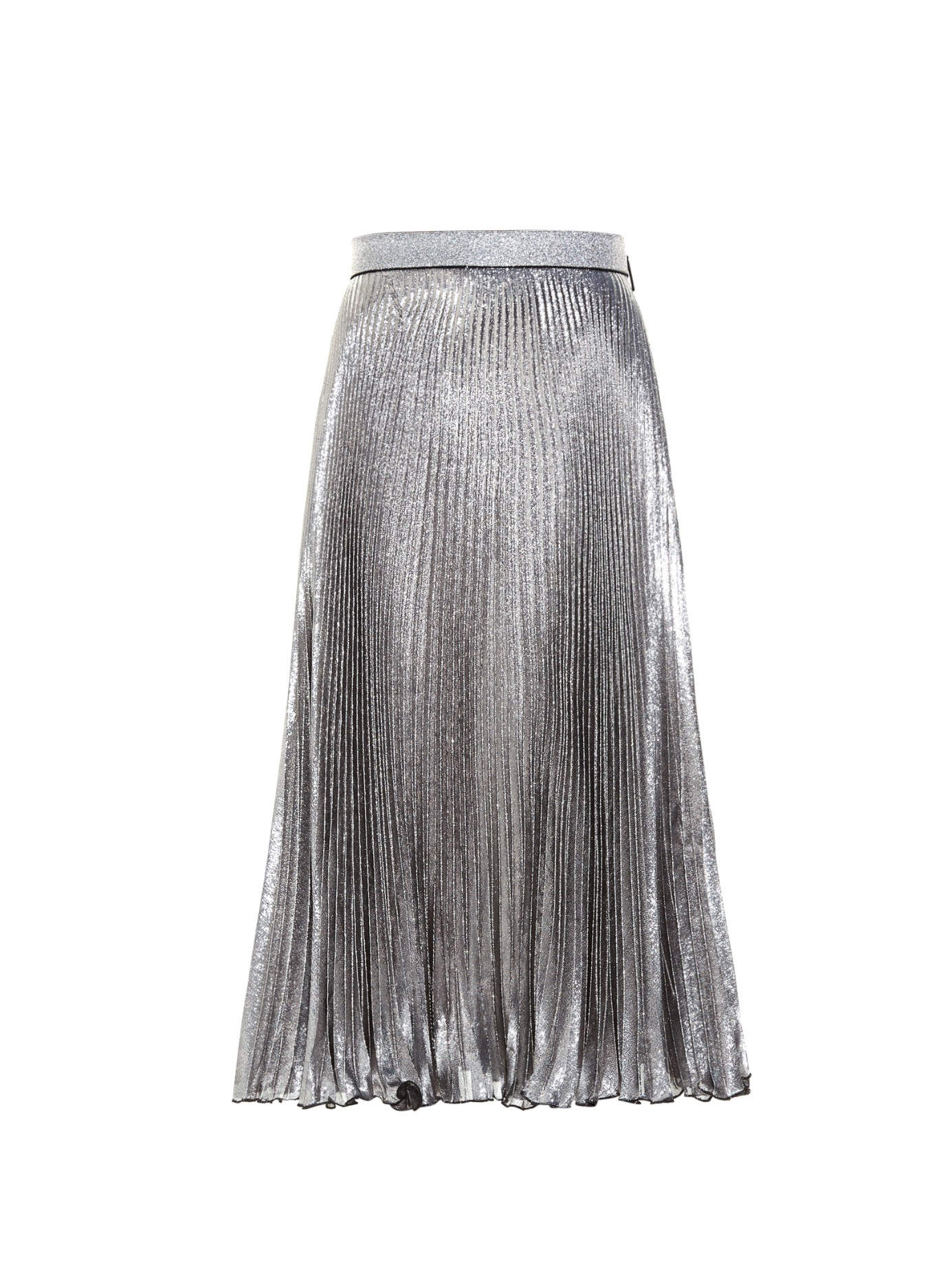 christopher pleated midi skirt in silver lyst