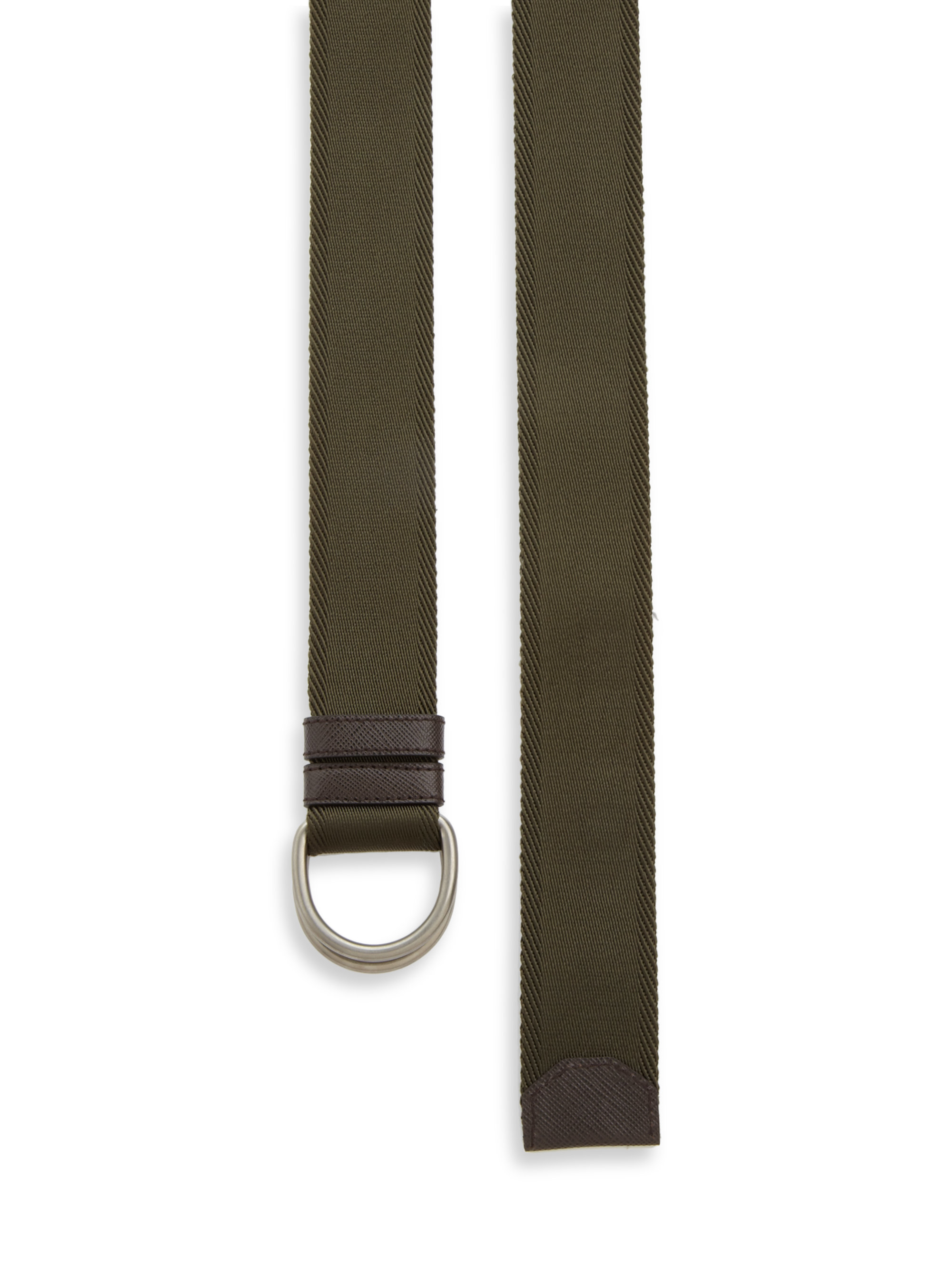 Prada D-ring Nylon Belt in Green for Men (green-brown) | Lyst