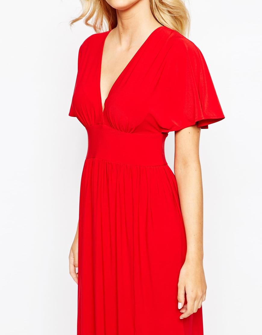 Lyst Love Kimono Sleeve Maxi Dress In Red