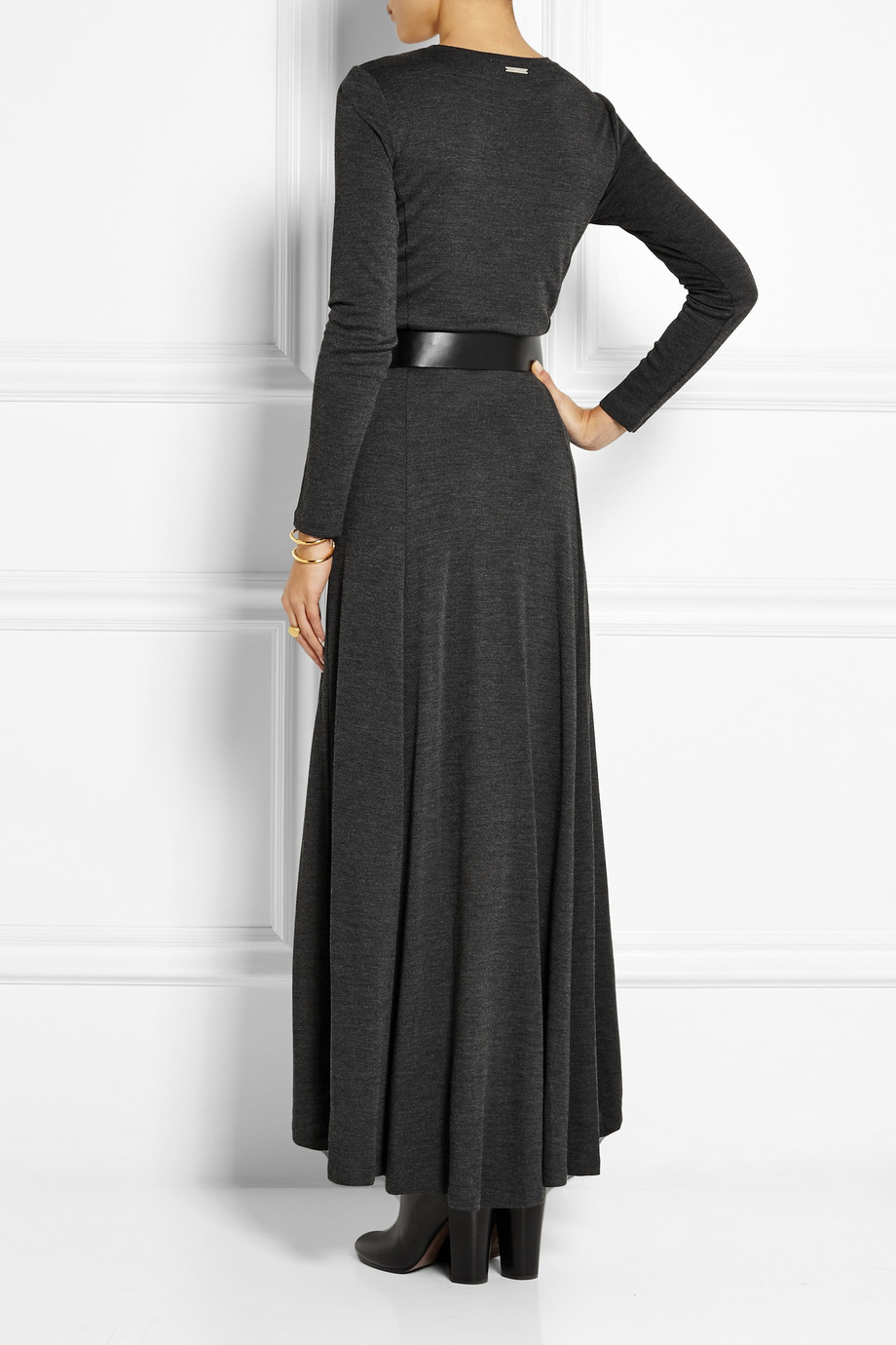 michael michael kors belted jersey maxi dress in gray lyst