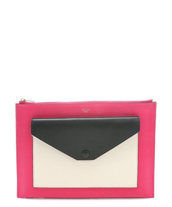 Celine Pink Leather Clutch Bag Pocket Celine Handbag Shop