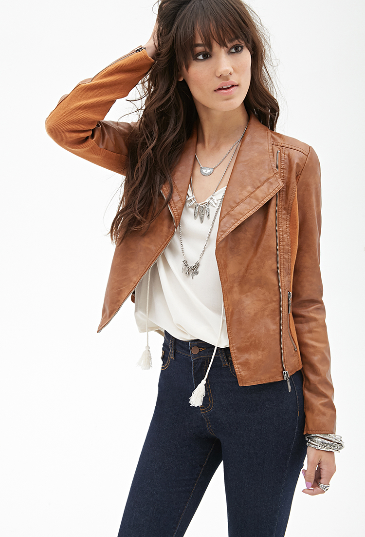 Lyst Forever 21 Paneled Faux Leather Jacket In Natural