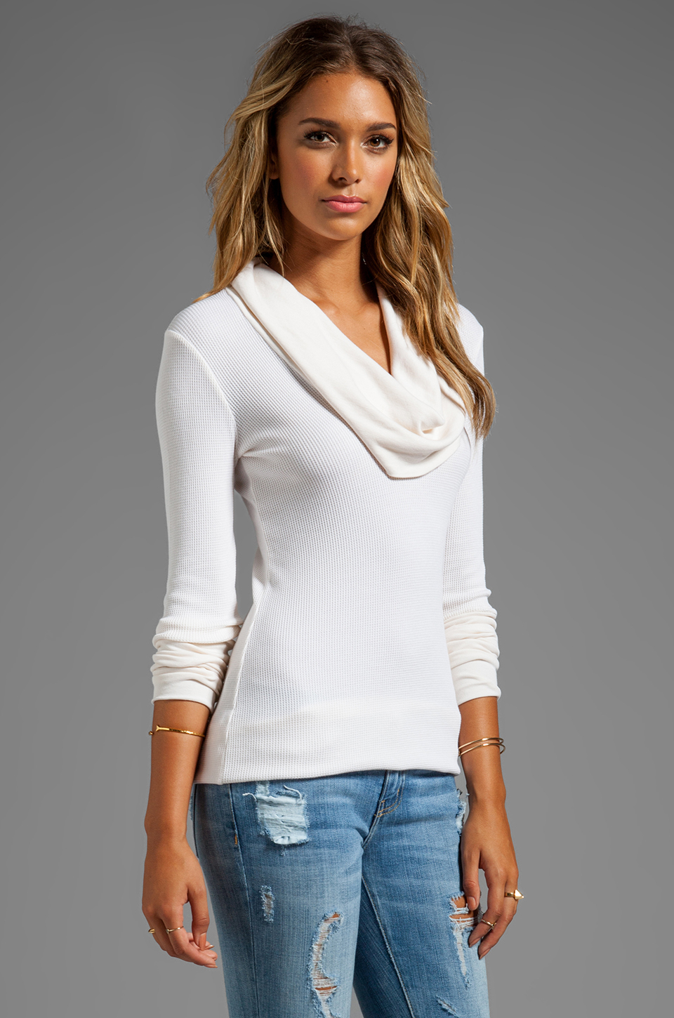 8c6ca046d9234 Lyst - Splendid Thermal Long Sleeve Cowl Neck in Cream in White