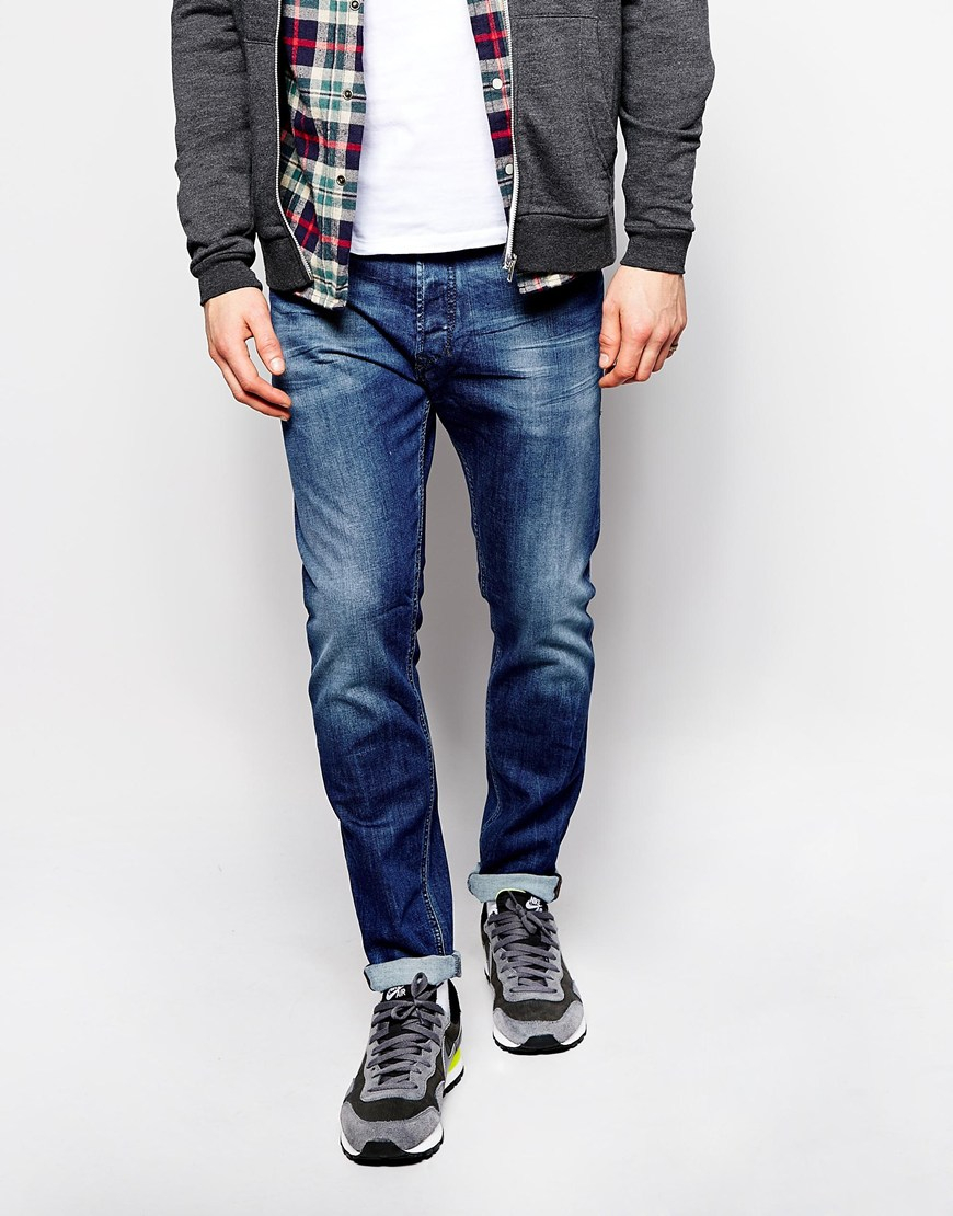 80a03319 DIESEL Jeans Tepphar Skinny Fit 836x Stretch Mid Blue in Blue for ...