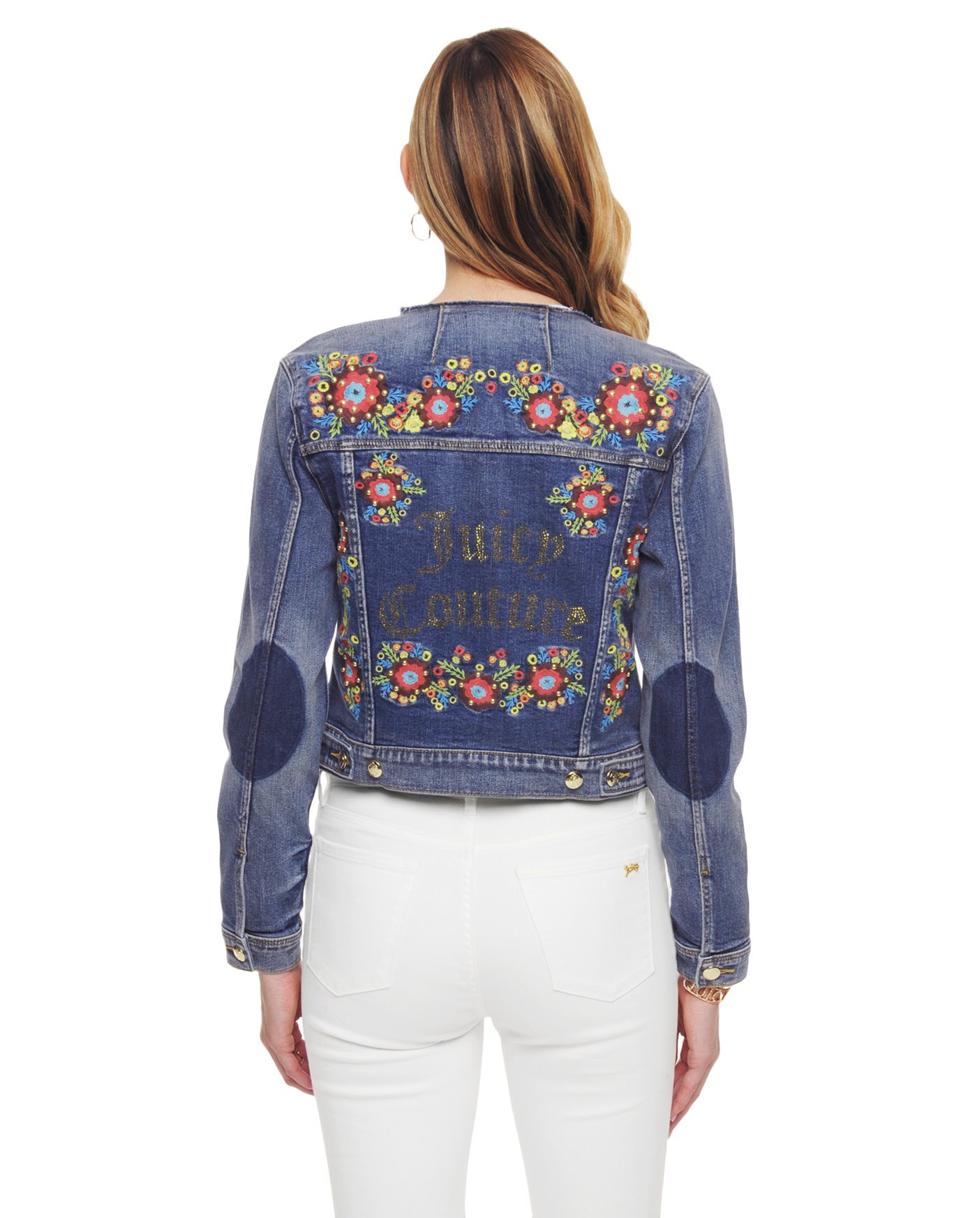 Juicy couture Floral Embroidered Denim Jacket in Blue | Lyst