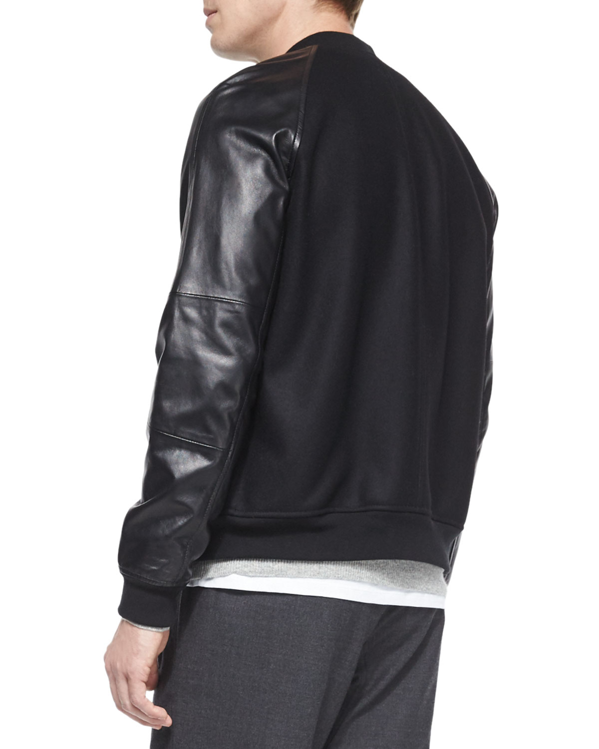 fdf0e26a5 Vince Black Leather-sleeve Bomber Jacket for men