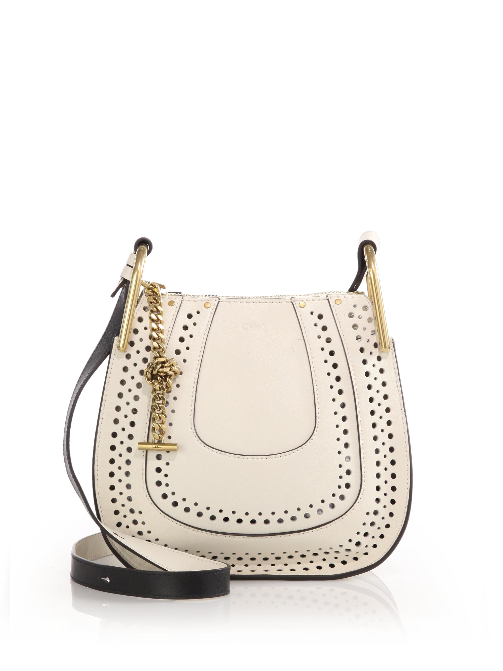 6604abdc5c Lyst Chloé Hayley Small Perforated Leather Crossbody Bag In White