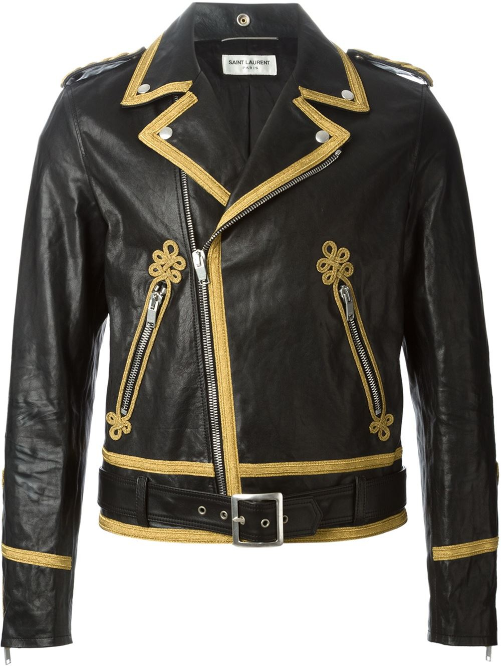Saint Laurent Officer Biker Jacket In Black For Men Lyst