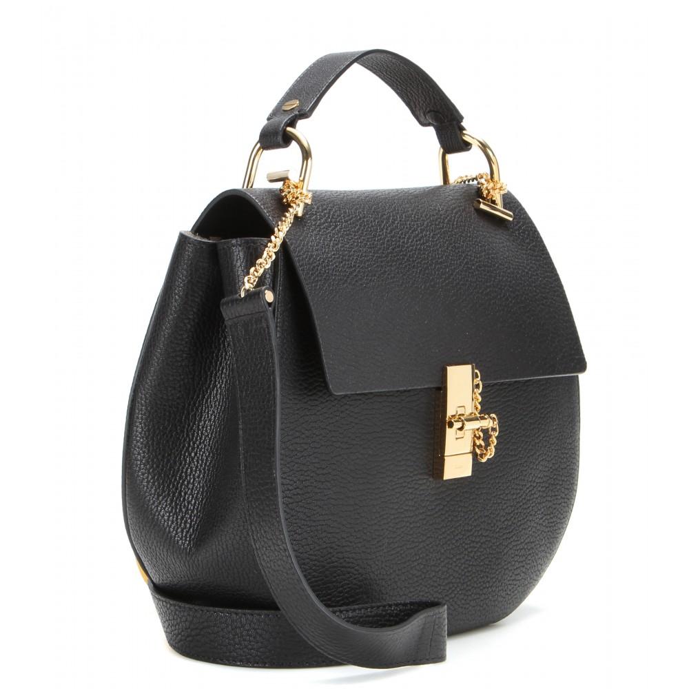chlo drew large leather shoulder bag in black lyst. Black Bedroom Furniture Sets. Home Design Ideas