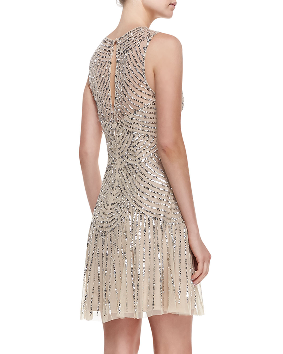 Aidan Mattox Sequined Beaded Deco Cocktail Dress In