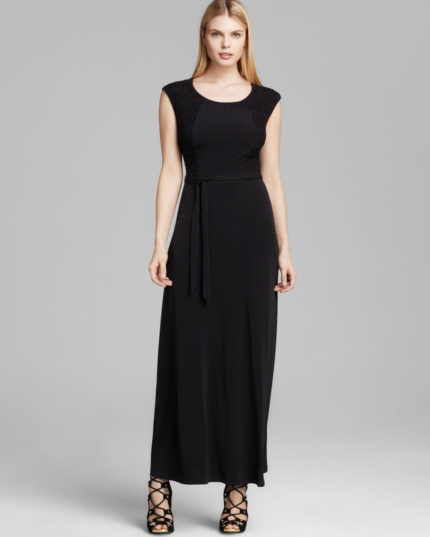 Lyst Calvin Klein Cap Sleeve Maxi Dress In Black