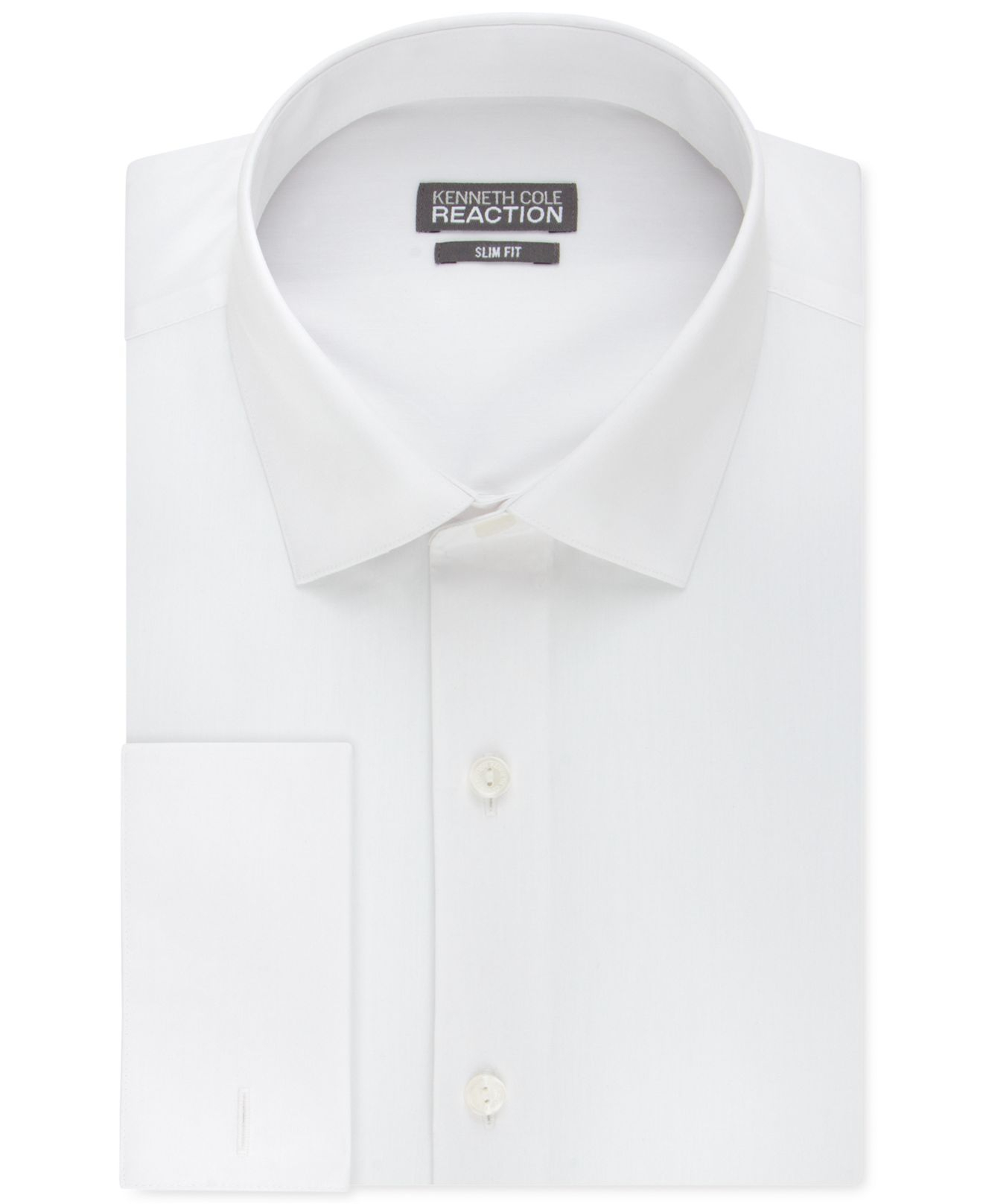 Kenneth cole reaction slim fit solid french cuff shirt in White french cuff shirt slim fit