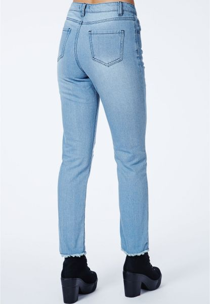 Missguided Ramune Daisy Embroidered Mom Jeans In Blue