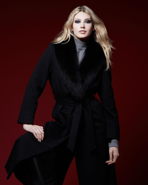 Sofia cashmere Fur-collar Long Wrap Coat in Black | Lyst