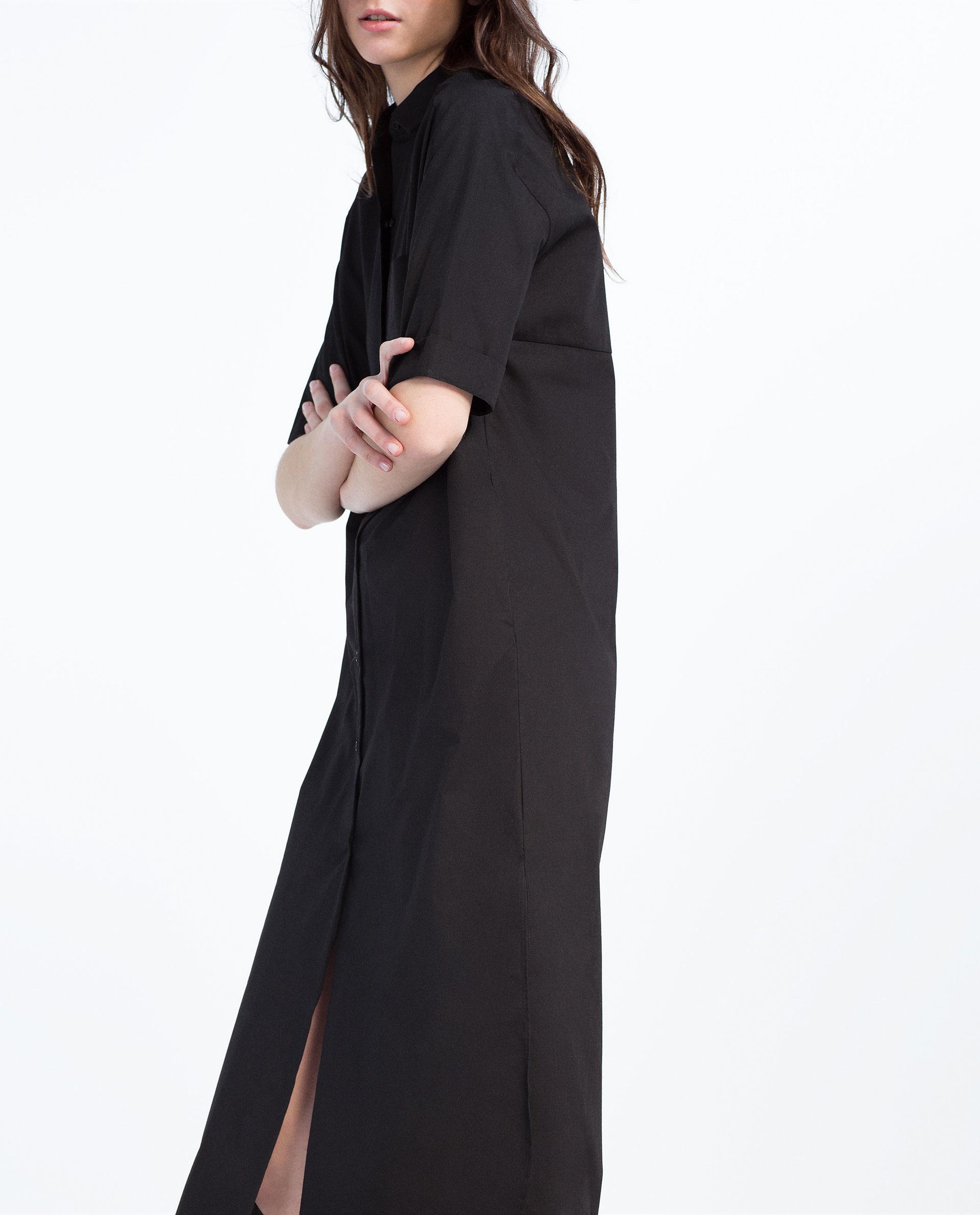 zara extra long shirt dress in black lyst