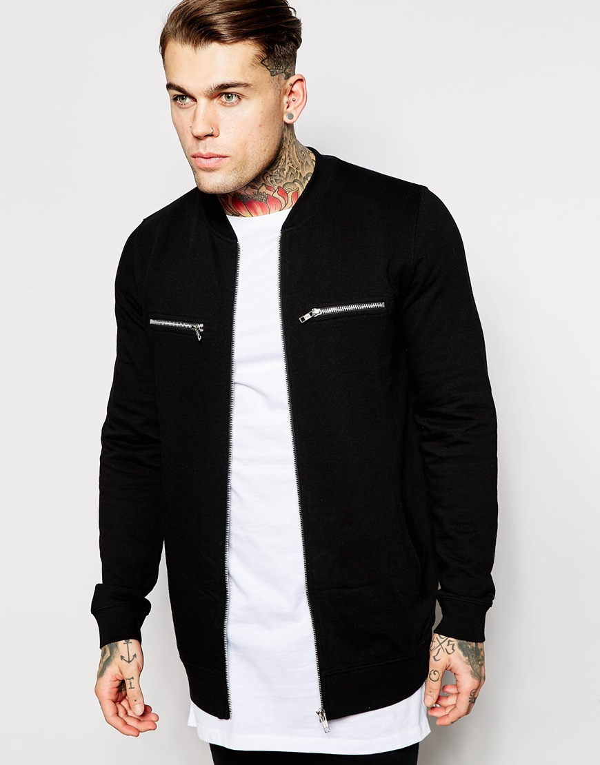 Bomber Jacket Men Black - Coat Nj