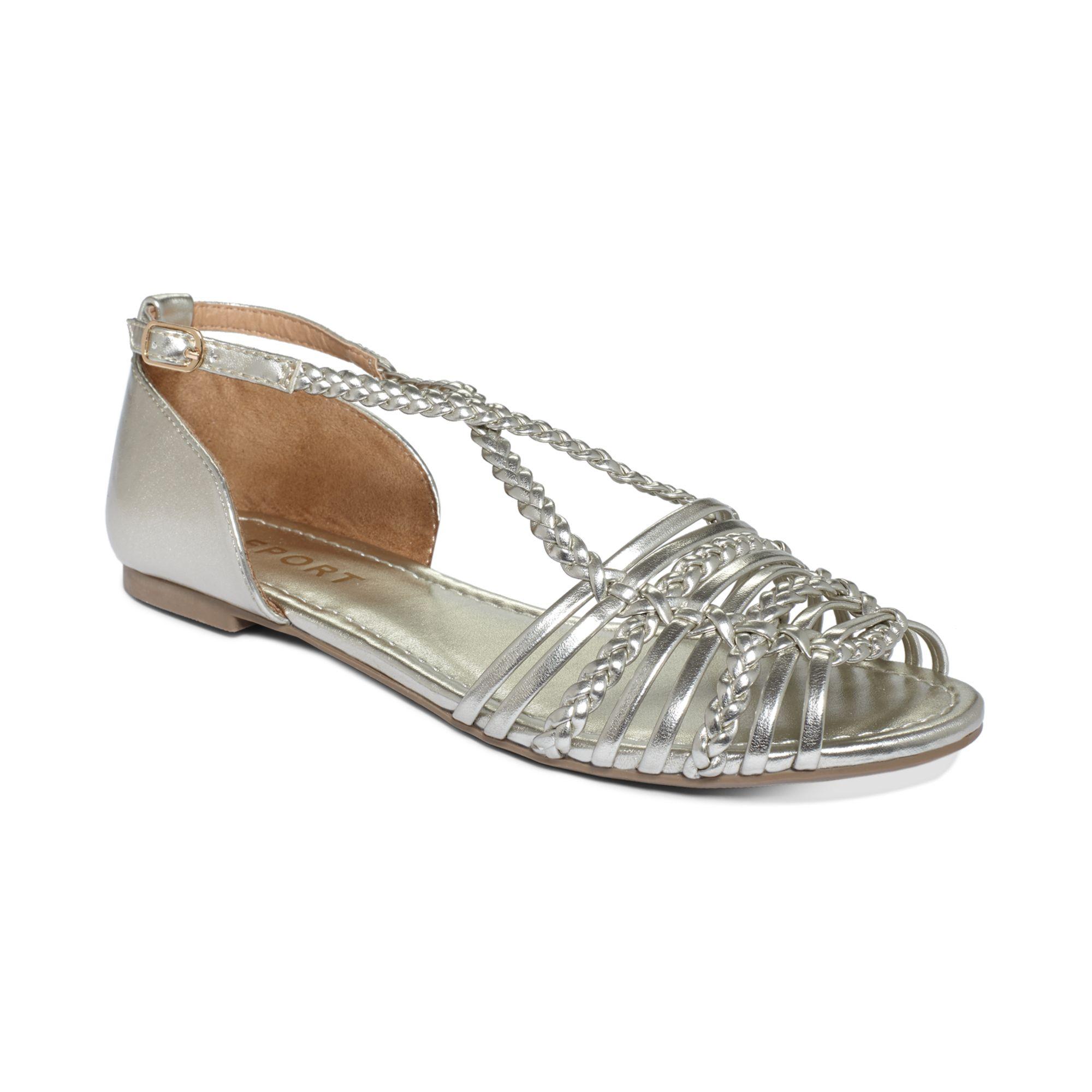 Report Cristina Flat Sandals in Silver | Lyst